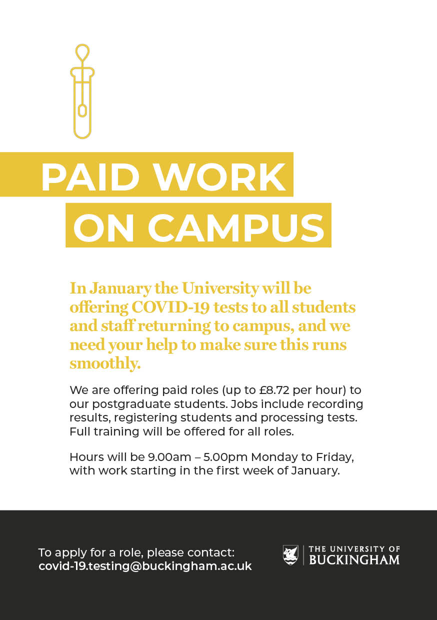 Covid-19 Testing Paid Work on Campus